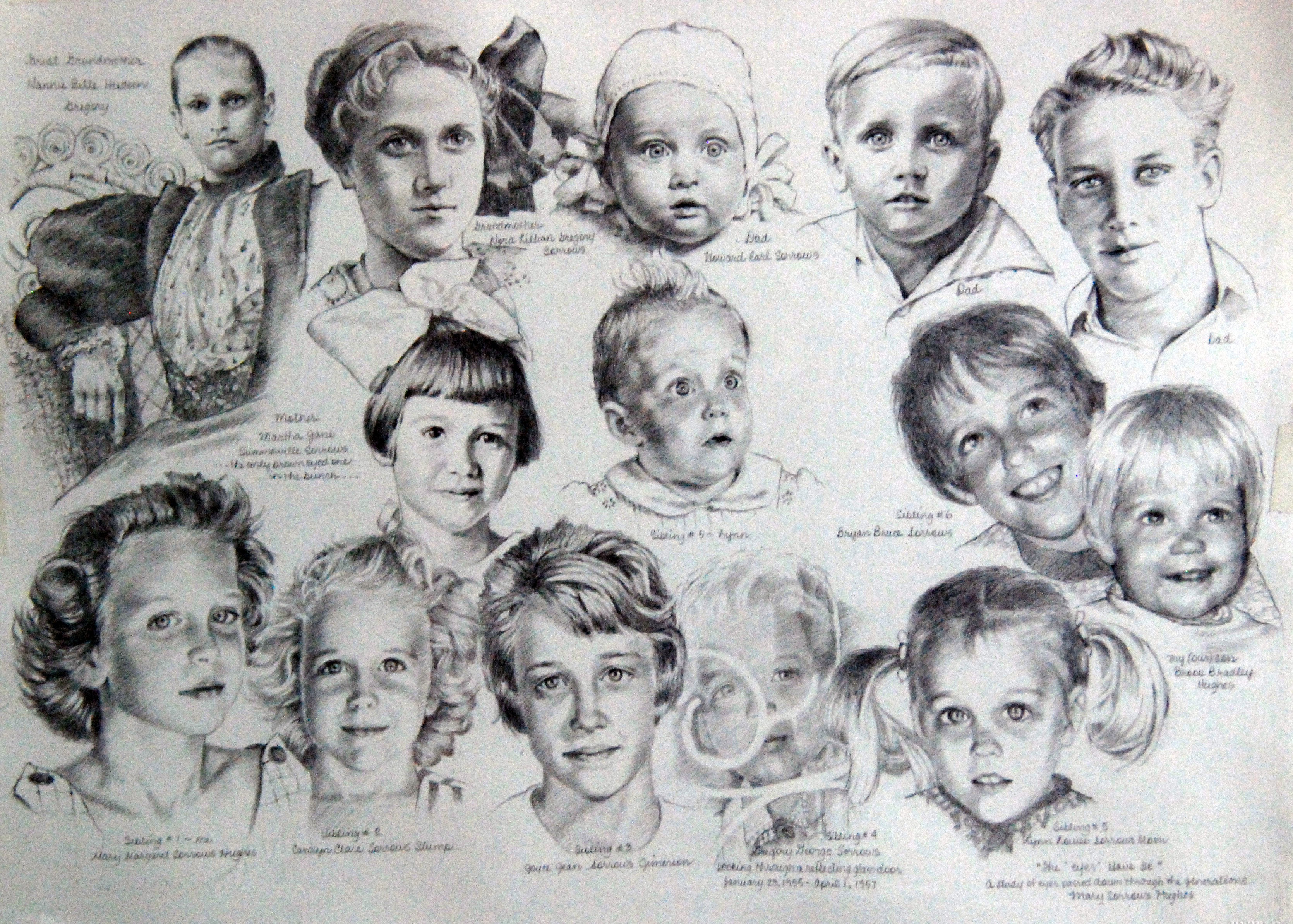 """The Eyes Have it"" (graphite  pencil drawing of the generations of eyes within out family)"